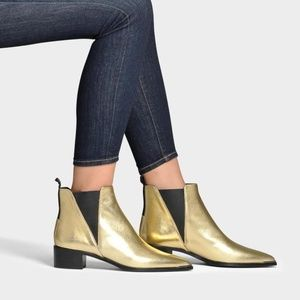 """ACNE """"JENSEN"""" METALLIC LEATHER ANKLE BOOTS IN GOLD"""
